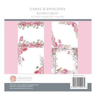 Karten und Scrapbooking Papier, Papier blöcke Neu! Ein tolles SET, Schmetterlinge Ballet, 20 Designer Karten + Umschläge, 20,3 x 20,3 cm,  je 4 designs, 300 gsm,