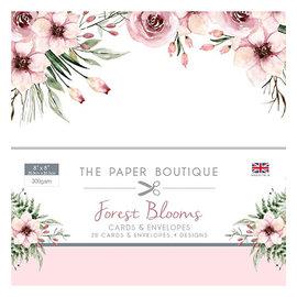 Karten und Scrapbooking Papier, Papier blöcke New! A great SET, Forest Blooms, 20 designer cards + envelopes, 20.3 x 20.3 cm, 4 designs each, 300 gsm