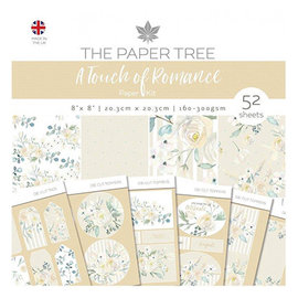Karten und Scrapbooking Papier, Papier blöcke NUEVO! SET bloque de papel, romance, 52 hojas, diseños 6x6, 20 x 20 cm, 160/300 gsm + 32 adornos!