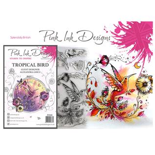 CREATIVE EXPRESSIONS und COUTURE CREATIONS Diseños de tinta rosa, sellos, A5, pájaro mágicamente hermoso