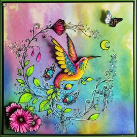 CREATIVE EXPRESSIONS und COUTURE CREATIONS Dessins à l'encre rose, timbres, A5, oiseau comme par magie!