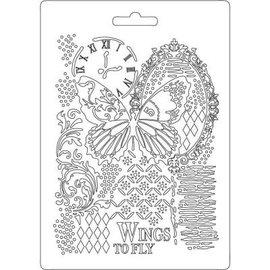 Stamperia und Florella Stamperia Soft Mold A5 Butterfly & Manuscripts