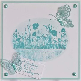 CREATIVE EXPRESSIONS und COUTURE CREATIONS Stamp, meadows with flowers,