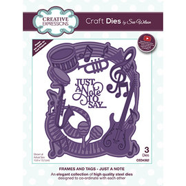 CREATIVE EXPRESSIONS und COUTURE CREATIONS PUNCHING MODELLO, Just A Note 3pcs / 10.6 x 13.2cm