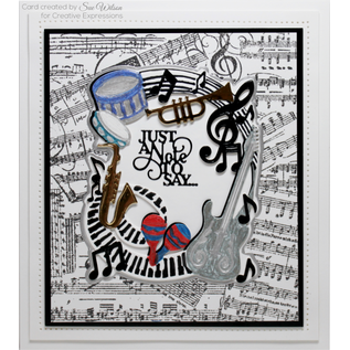 CREATIVE EXPRESSIONS und COUTURE CREATIONS cutting dies, Creative Expressions, Just A Note 3pcs / 10.6 x 13.2cm