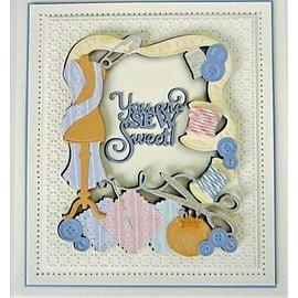 CREATIVE EXPRESSIONS und COUTURE CREATIONS Stanzschablonen,  Sew Sweet,  3pcs / 10.6 x 13.2cm