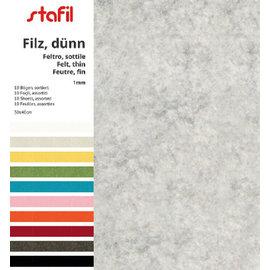 FILZ / FELT / FEUTRE Filt sæt 10 farver, 30 x 40 cm x 1 mm
