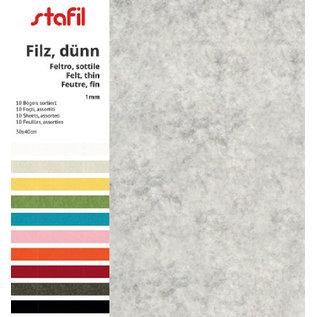 FILZ / FELT / FEUTRE Filz Set 10 Farben,  30 x 40cm x 1mm