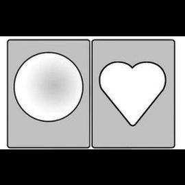 Embellishments / Verzierungen Ventana clara para diseñar tarjetas Schaker 3D. 6 piezas, 3 ventanas esféricas cada una, 3x en forma de corazón, 3x redondas 77mm