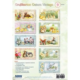 BASTELSETS / CRAFT KITS Komplett Diy set für 9 hübsche Vintage Osterkarten!