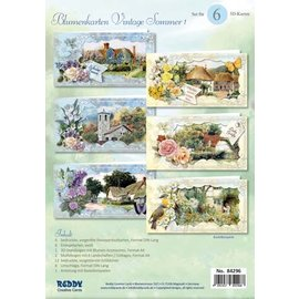 BASTELSETS / CRAFT KITS Et vakkert sett for 6 vintage blomsterkort + konvolutter!