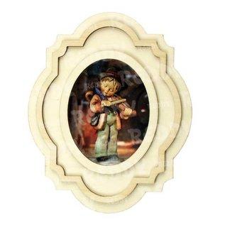 Holz, MDF, Pappe, Objekten zum Dekorieren 1 kit for 3D wooden picture frames, oval