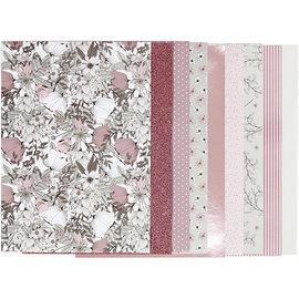 Karten und Scrapbooking Papier, Papier blöcke Hermoso bloque con papel de diseño, tamaño 21x30 cm, 120 + 128 g, marrón, beige, blanco, rosa, 24 hojas