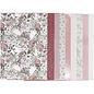Karten und Scrapbooking Papier, Papier blöcke Beautiful pad with design paper, size 21x30 cm, 120 + 128 g, brown, beige, white, pink, 24 sheets!