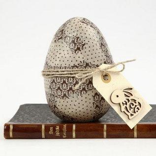 Holz, MDF, Pappe, Objekten zum Dekorieren 1 tweedelig ei, H 12 cm, D: 9 cm