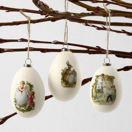 Holz, MDF, Pappe, Objekten zum Dekorieren 3 huevos de gallina grandes, plástico, H 8 cm, D: 5.5 cm, blanco, 3 piezas + 3 perchas de metal.
