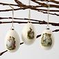 Holz, MDF, Pappe, Objekten zum Dekorieren 3 large goose eggs, plastic, H 8 cm, D: 5.5 cm, white, 3 pieces + 3 metal hangers!