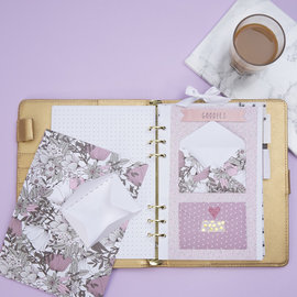 Karten und Scrapbooking Papier, Papier blöcke Beau bloc avec papier design, format 21x30 cm, 120 + 128 g, marron, beige, blanc, rose, 24 feuilles