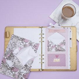 Karten und Scrapbooking Papier, Papier blöcke Bellissimo blocco con carta di design, dimensioni 21x30 cm, 120 + 128 g, marrone, beige, bianco, rosa, 24 fogli
