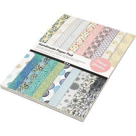 Karten und Scrapbooking Papier, Papier blöcke ¡Papel exclusivo hecho a mano, A4 21x30 cm, 110 g, jardín de flores, 20 hojas!