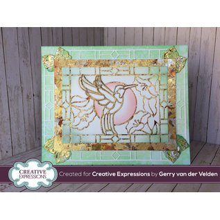CREATIVE EXPRESSIONS und COUTURE CREATIONS Stamping template: Stained glass collection, hummingbird