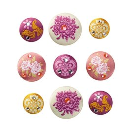 Embellishments / Verzierungen Tilda, 9 brads with embroidered Tilda roses, only LIMITED available!