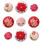 Embellishments / Verzierungen Tilda, 9 brads met geborduurde Tilda-rozen, alleen LIMITED beschikbaar!
