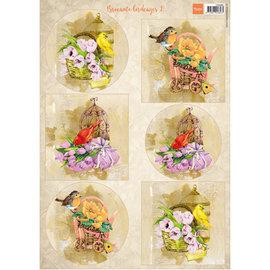 Marianne Design 2x fogli illustrati A4, uccelli e gabbie per uccelli