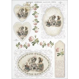 DECOUPAGE AND ACCESSOIRES 1x decoupage, rice paper, A4, vintage, nostalgia and lace. Choice of 9 different motifs!