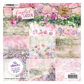 Karten und Scrapbooking Papier, Papier blöcke Designblok, Engelse tuin, Studio Light, 15x15cm, 36 vellen, 9 ontwerpen, 170gr