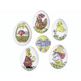 Modellieren Molde de fundición, huevos de Pascua, 6 motivos, formato 6 x 4,5 cm.