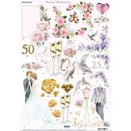 Bilder, 3D Bilder und ausgestanzte Teile usw... A4, foglio fustellato, San Valentino e matrimonio