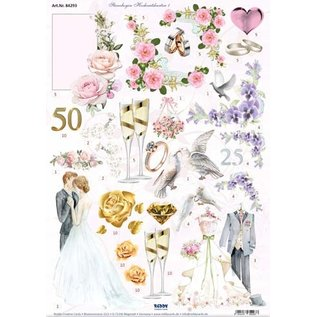 Bilder, 3D Bilder und ausgestanzte Teile usw... A4, Stanzbogen, Valentin und Hochzeit