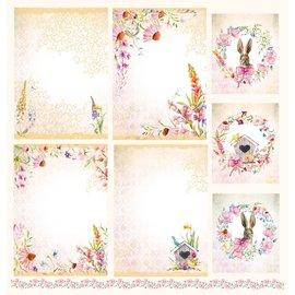 """LaBlanche Designerpapir, """"Blütenzauber"""", 30,5 x 30,5 cm, trykt på begge sider."""