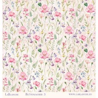 """LaBlanche Designerpapier, """"Blütenzauber"""", 30,5 x 30,5 cm, doppelseitig bedruckt."""