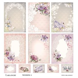 LaBlanche Designer paper, romantic, wedding, 30.5 x 30.5 cm, printed on both sides.