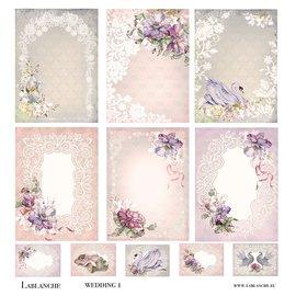 LaBlanche Designerpapir, romantisk, bryllup, 30,5 x 30,5 cm, trykt på begge sider.