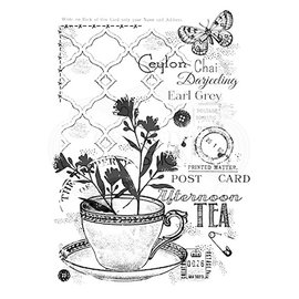 CREATIVE EXPRESSIONS und COUTURE CREATIONS Stamp, A5, nostalgic tea cup with background