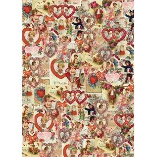 Karten und Scrapbooking Papier, Papier blöcke A4, designpapier: Valentijn / Victoriaanse hartmotieven