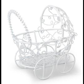 Embellishments / Verzierungen 1 Kinderwagen, weiß, 7 x 7 cm
