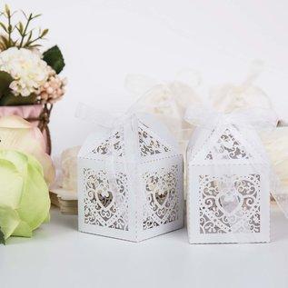 Dekoration Schachtel Gestalten / Boxe ... 5 hjertebokser, 5 x 5 x 7,5 cm + dekorativt bånd