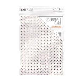 Tonic Studio´s A4, cartón kraft, nácar con corazones dorados, 280 g / m2, 5 hojas