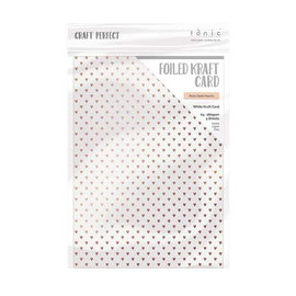 Tonic Studio´s A4, Kraft Karton, Perlmutt mit goldenen Herzen, 280 gsm, 5 Blatt