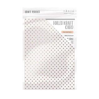 Tonic Studio´s A4, carton kraft, nacre avec coeurs dorés, 280 g / m2, 5 feuilles
