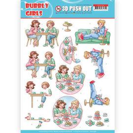 Bilder, 3D Bilder und ausgestanzte Teile usw... 1 feuille à découper pushout / A4, famille, grands-parents, Bubbly Girls - Me Time