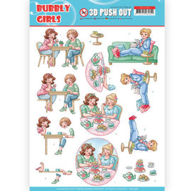 Yvonne Creations 1 pushout / A4 die cut sheet, family, grandparents, Bubbly Girls - Me Time