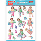 Yvonne Creations 1 pushout / A4 die cut sheet, family, grandparents, bubbly girls - shopping