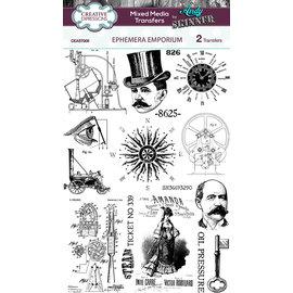 Embellishments / Verzierungen 2x overføringer av blandede medier, ephemera emporium