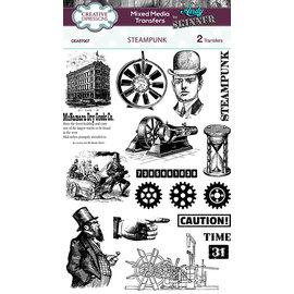 Embellishments / Verzierungen 2x transferts de médias mixtes, Steampunk