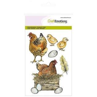 Craftemotions CraftEmotions, A5, frimerker, kyllinger og kyllinger